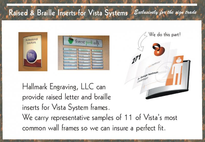 Raised and Braille Inserts for Vista Systems